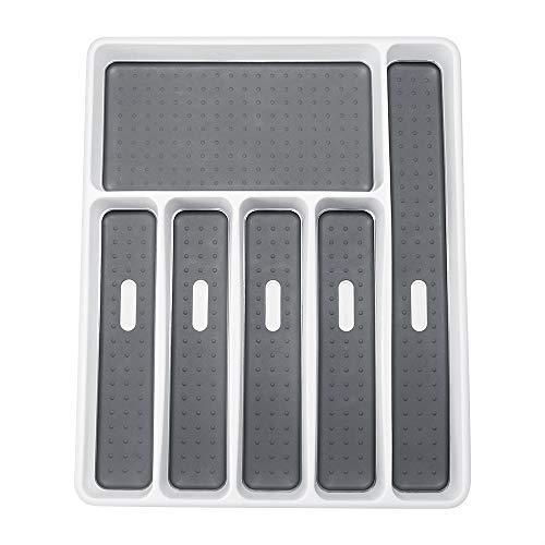Konesky Porta Cubiertos, Cocina Cajón Organizador Cuchara Tenedor Separación Vajilla Bandeja Caja de Almacenamiento de Plástico para Escritorio de Cocina y Armario (6 compartimentos, 1 pieza)