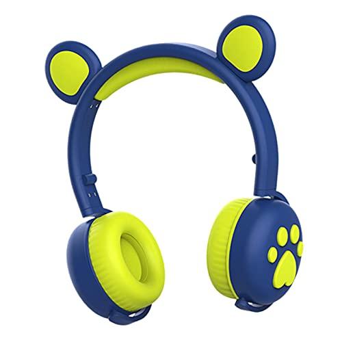 MERIGLARE Bear Ear Bluetooth Kopfhörer Over On Ear Headset für PC Mädchen Dunkelblau
