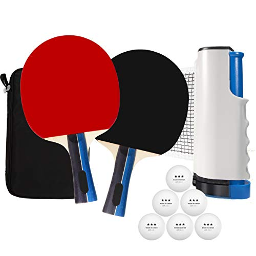 Solid 7Layer Quality Paddles in a Portable Ping Pong Set for Any Table Portable Table Tennis Set with a Retractable Ping Pong Net for Indoor and Outdoor
