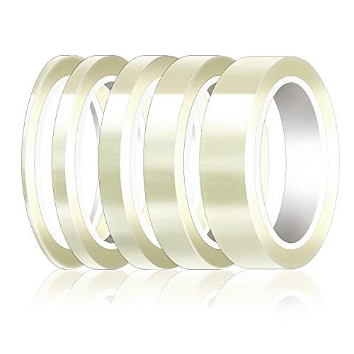 Homgaty 5 Rollen Hitzebeständiges Klebeband, Polyimid Hochtemperatur Isolierband für 3D Drucker, Sublimationsdruck, Wellenlöten (3 mm / 5 mm / 8 mm / 12 mm / 20 mm x 33 m, Transparent)