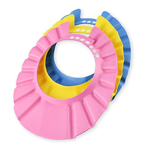 Ansblue Schutz für Babys gegen Shampoo, für Dusche, Badewanne, weiche Kappe, einstellbares Visier, Hut für Kleinkind, Baby, Kinder, 3 Stück