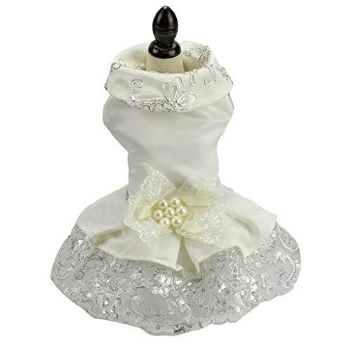 Beyonds Puppy Dog Dress, Lace Tutu Dress 2019 New Party Weding Dress Dog Harness Flower Skirt Princess Clothes Pet for Small Dog Apparel Clothes