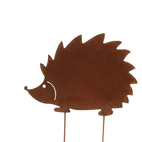 Wunderschöner & Hochwertiger Gartenstecker - Tier Figur – Rost Stecker/Tierfigur – Große Auswahl – Edelrost Gartenfigur – Metall Gartendeko (Igel - Länge 40cm)