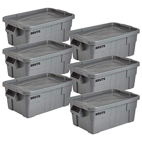 Rubbermaid Commercial Products Brute Tote Storage Container with Lid, 14-Gallon, Gray (FG9S3000GRAY) (Pack of 6)