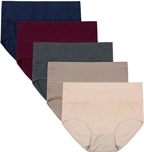 INNERSY Unterhosen Damen Baumwolle Bauch Weg Unterwäsche Hohe Taille Shaping Slips Mehrpack 5 (2XL, Color 5F)