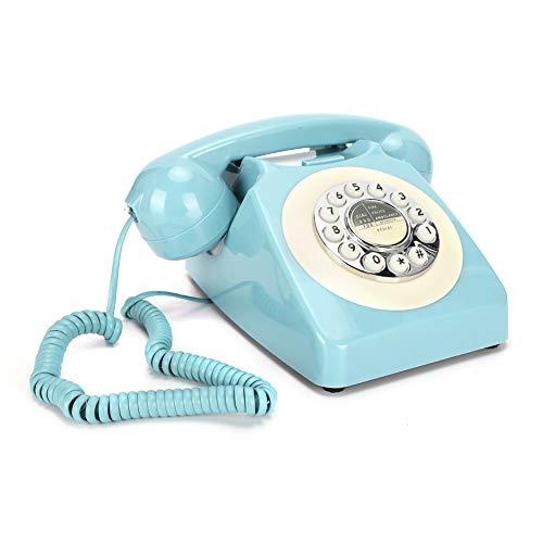cigemay Teléfono, teléfono Fijo Retro Teléfono de Escritorio Multifuncional, Soporte para Sistema Dual FSK/DTMF, Interruptor FP/T, Interruptor de Timbre HI/Low, rellamada