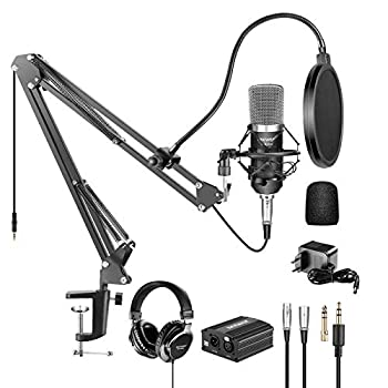 Neewer NW-700 Pro Condenser Microphone and Monitor Headphones Kit with 48V Phantom Power Supply NW-35 Boom Scissor Arm Stand Shock Mount and Pop Filter for Home Studio Sound Recording Black