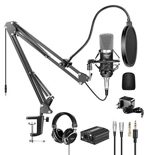 Neewer Kit di Microfono a Condensatore Professionale NW-700 & Cuffie Monitor di Monitoraggio con Alimentazione 48V Phantom, Stand NW-35, Supporto & Filtro Pop (Nero)