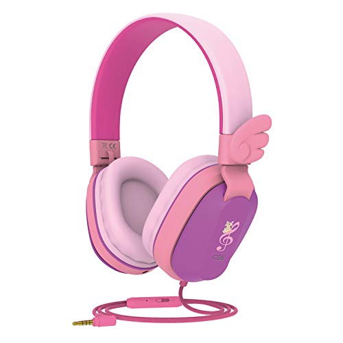 Kids Headphones, Riwbox CS6 Lightweight Foldable Stereo Headphones Over Ear Corded Headset Sharing Function with Mic and Volume Control Compatible with iPad/iPhone/PC/Kindle/Tablet (Purple&Pink)