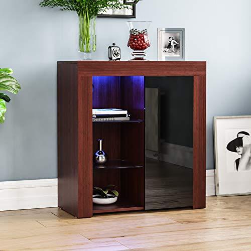 Vida Designs Azura 1 dörr modern LED sidobord i valnöt och svart, RGB-lampor (blekning/strobe alternativ ingår), trämattstil med högglansfunktioner, normal
