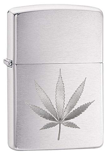 Zippo Brushed Chrome Marijuana Leaf Pocket Lighter 29587 One Size