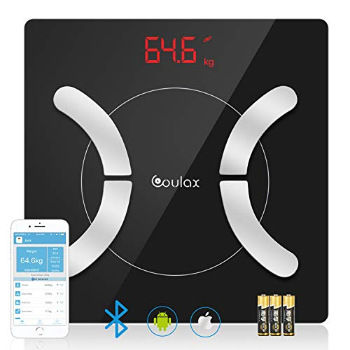 Coulax Körperfettwaage, Digital Personenwaagen Bluetooth Waage für Körperfett, Smart Körperwaage mit APP für Gewicht Körperfett Fitness Monitor, BMI, Gewicht, Muskelmasse, Wasser, BMR, Protein