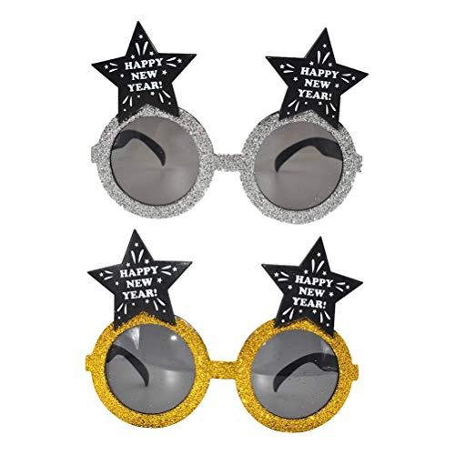 AYCPG Feliz Ao Nuevo Gafas 2 Unids Pentagrama Feliz Ao Nuevo Gafas Foto Props Funny Eyewear Nochevieja Fiesta Gafas Feliz Ao Nuevo Fiesta Prop Lucar
