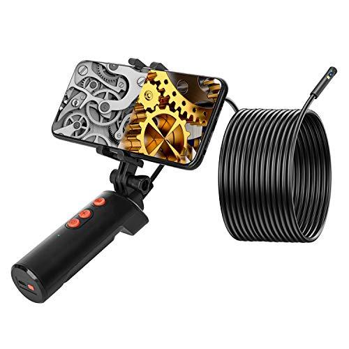 AMITER - Cámara endoscopio de doble objetivo, 1080P WiFi Boroscopio con soporte para teléfono y luz LED, resistente al agua para...