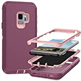 MMHUO for Samsung Galaxy S9 Case,Full Body Heavy Duty Protective Case for Samsung Galaxy S9 Case,3 in 1 Dust & Shock-Proof Phone Case for Samsung Galaxy S9 Hard Cover,Pink/Violet