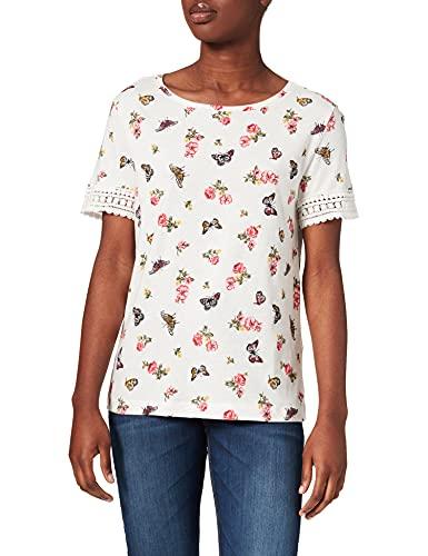 Springfield Camiseta Estampada Mangas Crochet, Beige/Camel, M para Mujer
