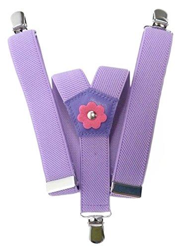 Olata Hosenträger für Mädchen 1-5 Jahre mit 3 Clips und Blume Design - Fliede