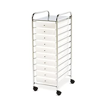 Multi-Use 10 Drawer Rolling Cart  Clear White and Chrome