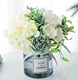 ynh Ins Style Artificial Rose Bouquet Set, with Transparent Glass vase Set, 1...