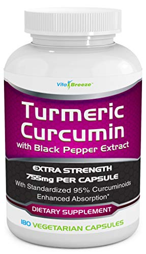 Turmeric Curcumin Complex with Black Pepper Extract - 755mg per Capsule, 180 Veg. Caps - Contains Piperine (for Superior Absorption and Tumeric Bio-Availability) and 95% Standardized Curcuminoids