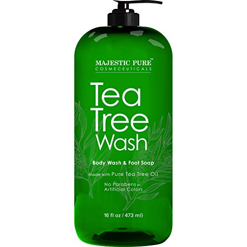 Tea Tree Body Wash, Helps Nail Fungus, Athletes Foot, Ringworms, Jock Itch, Acne, Eczema & Body Odor, Soothes Itching & Promotes Healthy Feet, Skin and Nails, Naturally Scented, 16 fl. oz.