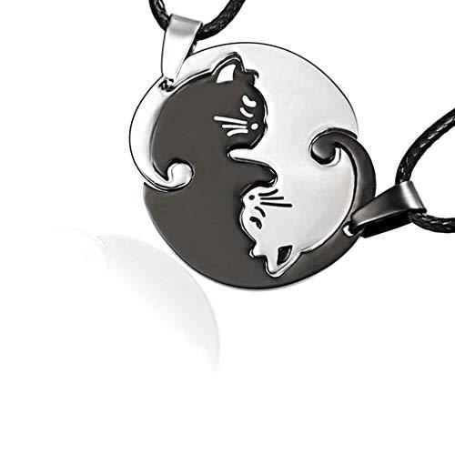 Pigupup Collares Parejas joyería de la Cadena Negro del Gato de Dibujos Animados Blanco Redonda de Acero Inoxidable Collar de los Colgantes de Animales