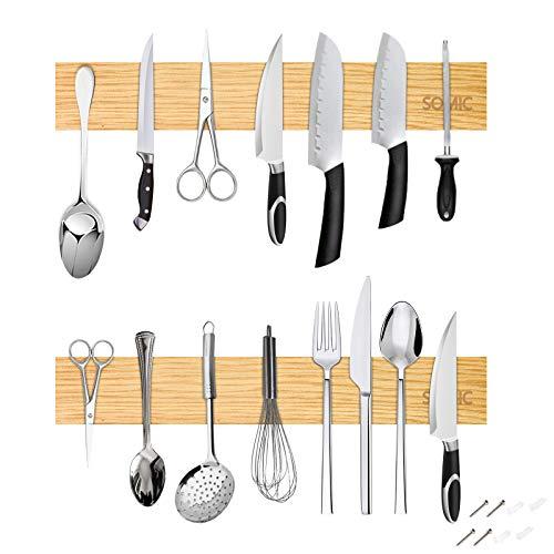 Imán Cuchillos Pared De Cocina Potente Barra Magnetica Adhesiva Bambú Portacuchillos Organizador Herramientas Soporte Adhesivos Pegar/Taladra 50 cm 2er
