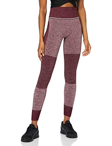 Amazon-Marke: AURIQUE Damen Sportleggings mit hohem Bund und Colour-Block-Design, Rot (Port Royale), 40, Label:L