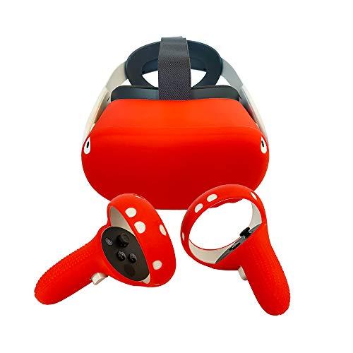 Govark Set (2-in-1) Silikonschutz für Kopfhörer & Controller Oculus Quest 2 (kratzfest) Rot