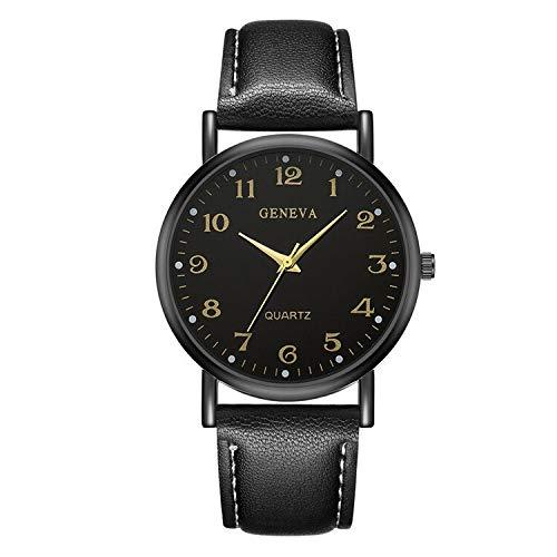 YTG Las señoras de Cuero marrón Reloj Negro (Color : Black Black)