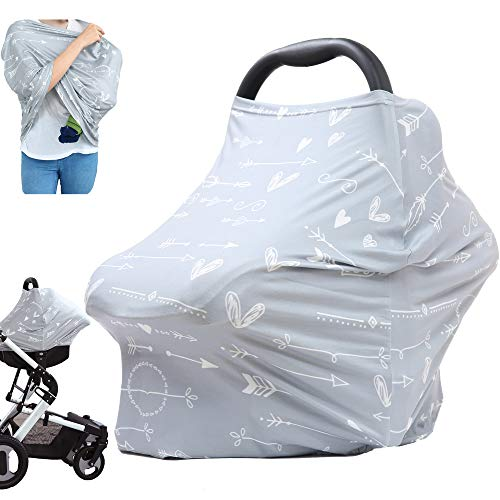 Baby Breastfeeding Nursing Cover Canopy - Infant Stroller Cover, Carseat Canpoy Covers for Babies, Multi Use Car Seat Cover, Nursing Scarf, Baby Girls and Boys Shower Gifts