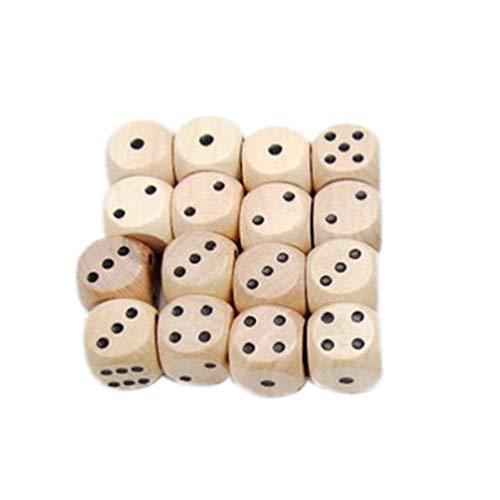 STOBOK Juego de 10 dados de madera de 6 lados de 16 mm, estándar, para niños y adultos, juego de mesa, juego de cartas, para fiestas en casa o en fiestas