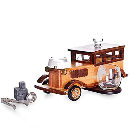 Juego de decantores de Whisky Personalizado, decantador de automóviles clásico con 2 Tazas + tártaras de Hielo + Pinzas + Embudo + Grifo de Acero Inoxidable