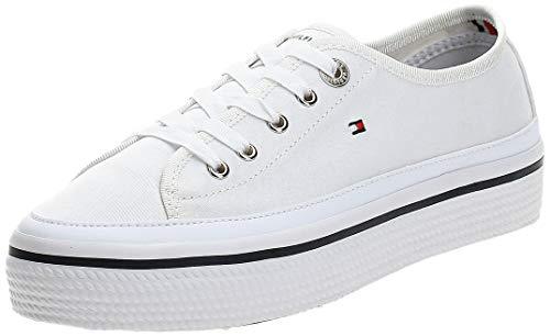 Tommy Hilfiger Corporate Flatform Sneaker, Zapatillas Mujer, Blanco (White 100), 39 EU