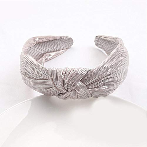 Empty Shining Hot Stamping Hair Hoop Cloth Women Vintage Hair Band Wide Side Knot Headband Hair Accessories-White