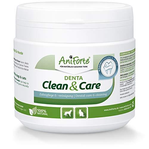 AniForte Denta Clean & Care Zahnpflege Pulver für Hunde & Katzen 300g - Natürliches Zahnsteinpulver, Zahnreinigung bei Mundgeruch & Plaque. Mittel gegen Zahnstein Hund & frischer Atem