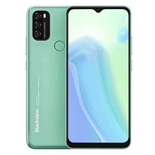 Android 11 Teléfono Blackview A70, Pantalla HD+ 6.5'', 8.3mm Delgado&Liviano, Batería Masiva 5380mAh, Smartphone Octa Core 3GB 32GB,13MP+5MP,Dual SIM Móvil 4G,Desbloqueo Facial&Huella Digital Verde