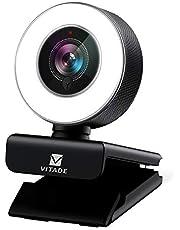ウェブカメラ フルHD 1080P マイク内蔵 LEDライト付き 広角 webカメラ 200万画素 オートフォーカス 自動光補正 USBプラグアンドプレー H.264エンコーディング採用 windows mac ウェブ会議/動画配信/ゲーム実況/ビデオ通話/在宅勤務などストリーミングプロ級 pc外付けカメラ -Vitade 960a