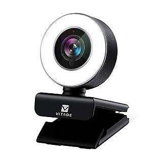 """ウェブカメラ フルHD 1080P マイク内蔵 LEDライト付き 広角 webカメラ 200万画素 オートフォーカス 自動光..."""""""