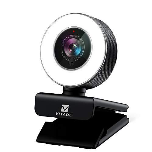 ウェブカメラ フルHD 高画質 1080P マイク内蔵 LEDライト付き 広角 webカメラ 200万画素 オートフォーカス 自動光補正 USBプラグアンドプレー H.264エンコーディング採用 windows mac ウェブ会議/動画配信/ゲーム実況/ビデオ通話/在宅勤務などストリーミングプロ級 pc外付けカメラ -Vitade 960a