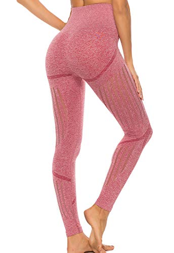 FITTOO Leggings Sin Costuras Corte de Malla Mujer Pantalon Deportivo Alta Cintura Yoga Elásticos Fitness Seamless Rosa-2 Small