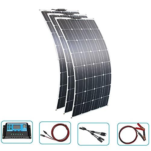 Kit de panel solar flexible 300W 12V panel solar monocristalino + controlador solar para automóviles, caravanas, botes, caravanas, techos para el hogar-Kits de 300W