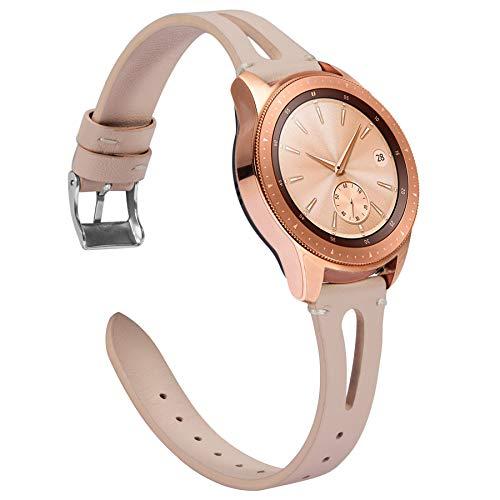 Ownaco Leder Armband Kompatibel mit Samsung Galaxy Watch 42mm Uhrenarmband Frauen Manner 20mm Echtleder Armband Ersatz fur Galaxy Active 2 40mm 44mm 20mm Breite Beige