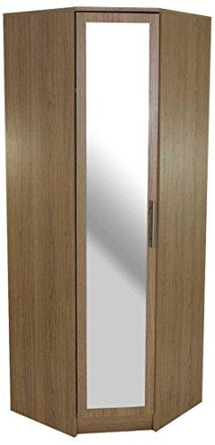 devoted2home Wardrobe Oak 1 Door Corner Mirror with Metal T-Bar Handle, Wood, Bedroom Furniture Set Wardrobe Storage Organiser, 64.7x64.7x180.0cm. Large 3/4 Length Hanging Rail Space with top Shelf