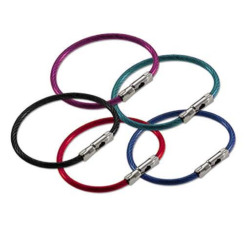 Lucky Line Chaveiro Flex-O-Loc de 12,7 cm, aço galvanizado, resistente à corrosão, cores sortidas, pacote com 5 (7110005)