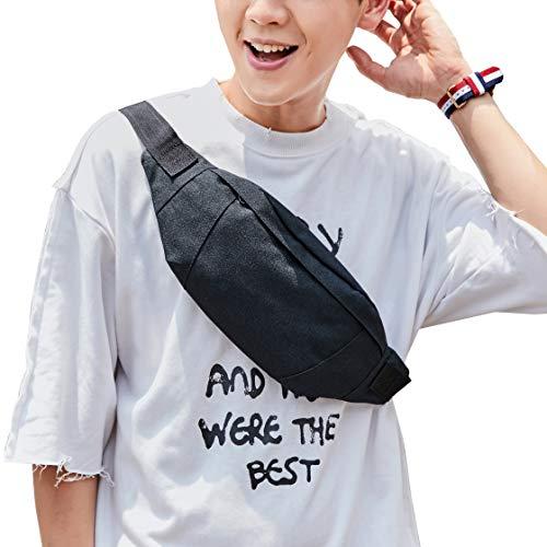 Large Black Waist Bag Fanny Pack For Men Women Belt Bag Pouch Hip Bum Bag Chest Sling Bag With Adjustable Strap, Premium Waterproof Lightweight Fanny Pack For Sport Gym Workout Travel Work Commuting