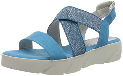 Marco Tozzi 2-2-28755-34, Sandalia con Pulsera Mujer, Azul (Malibu Blue Core 874), 37 EU