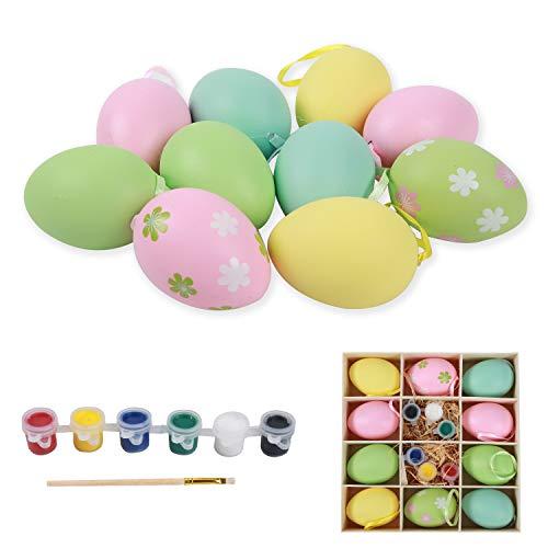 Ulikey 10 Pezzi Uova di Pasqua, Ornamenti di Uova di Pasqua, Decorazione di Uova Pasquali, Uova di Plastica Multicolore per la Decorazione e Regali del Partito di Pasqua