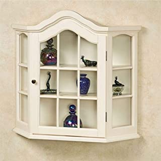 Amelia Wooden Wall Curio Cabinet Whitewash One Size