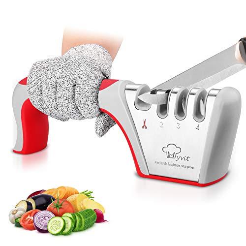 MYVIT - Affilacoltelli professionale, 4 in 1, affilacoltelli da cucina, manuale affilacoltelli affilacoltelli con design antiscivolo ed ergonomico per uso domestico e chef…